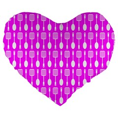 Purple Spatula Spoon Pattern Large 19  Premium Flano Heart Shape Cushions by creativemom