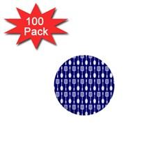 Indigo Spatula Spoon Pattern 1  Mini Buttons (100 pack)  by creativemom