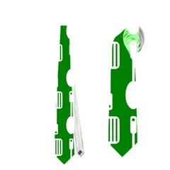 Green And White Kitchen Utensils Pattern Neckties (two Side)  by creativemom
