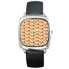 Colorful Ladybug Bess And Flowers Pattern Square Metal Watches by creativemom