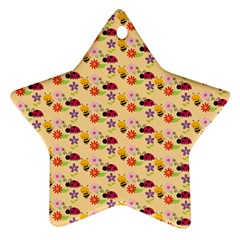 Colorful Ladybug Bess And Flowers Pattern Star Ornament (Two Sides)  by creativemom