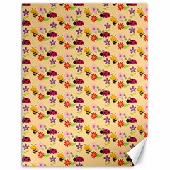 Colorful Ladybug Bess And Flowers Pattern Canvas 18  X 24   by creativemom