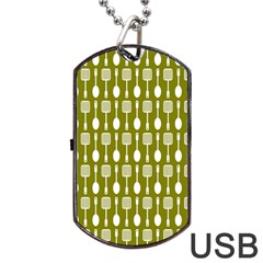 Olive Green Spatula Spoon Pattern Dog Tag Usb Flash (two Sides)  by creativemom