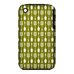 Olive Green Spatula Spoon Pattern Apple Iphone 3g/3gs Hardshell Case (pc+silicone) by creativemom