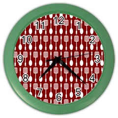Red And White Kitchen Utensils Pattern Color Wall Clocks by creativemom