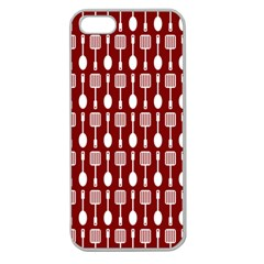 Red And White Kitchen Utensils Pattern Apple Seamless Iphone 5 Case (clear) by creativemom