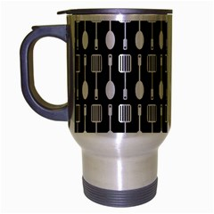 Black And White Spatula Spoon Pattern Travel Mug (Silver Gray) by creativemom