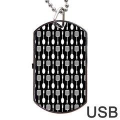 Black And White Spatula Spoon Pattern Dog Tag Usb Flash (one Side) by creativemom