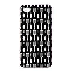 Black And White Spatula Spoon Pattern Apple Iphone 4/4s Seamless Case (black)