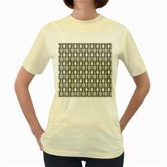 Gray And White Kitchen Utensils Pattern Women s Yellow T Shirt by creativemom