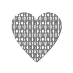 Gray And White Kitchen Utensils Pattern Heart Magnet by creativemom