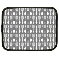 Gray And White Kitchen Utensils Pattern Netbook Case (large)	 by creativemom