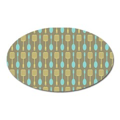 Spatula Spoon Pattern Oval Magnet by creativemom