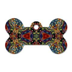 Magnificent Kaleido Design Dog Tag Bone (two Sides) by MoreColorsinLife