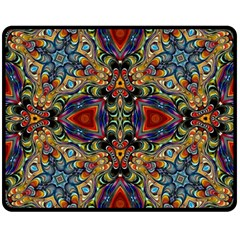 Magnificent Kaleido Design Double Sided Fleece Blanket (medium)  by MoreColorsinLife