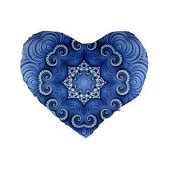 Awesome Kaleido 07 Blue Standard 16  Premium Flano Heart Shape Cushions by MoreColorsinLife