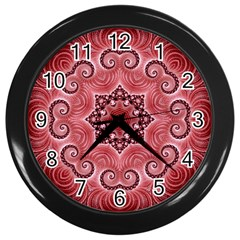 Awesome Kaleido 07 Red Wall Clocks (black) by MoreColorsinLife