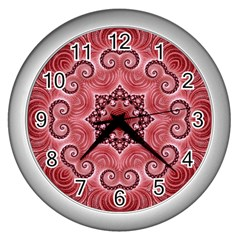 Awesome Kaleido 07 Red Wall Clocks (silver)  by MoreColorsinLife