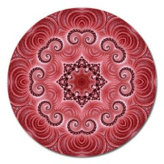 Awesome Kaleido 07 Red Magnet 5  (round) by MoreColorsinLife