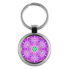 Kaleido Art, Pink Fractal Key Chains (round)  by MoreColorsinLife