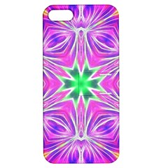 Kaleido Art, Pink Fractal Apple Iphone 5 Hardshell Case With Stand by MoreColorsinLife
