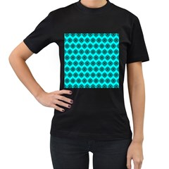 Abstract Knot Geometric Tile Pattern Women s T Shirt (black) (two Sided) by creativemom