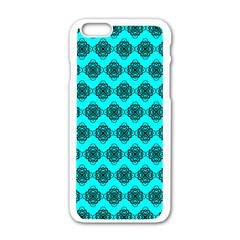 Abstract Knot Geometric Tile Pattern Apple Iphone 6 White Enamel Case by creativemom