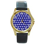 Abstract Knot Geometric Tile Pattern Round Gold Metal Watches