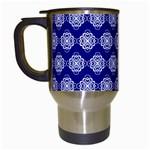 Abstract Knot Geometric Tile Pattern Travel Mugs (White)