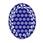 Abstract Knot Geometric Tile Pattern Oval Filigree Ornament (2-Side)