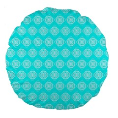 Abstract Knot Geometric Tile Pattern Large 18  Premium Flano Round Cushions by creativemom
