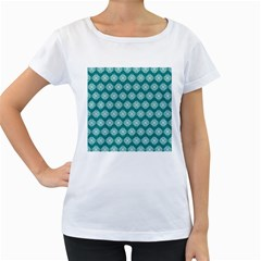 Abstract Knot Geometric Tile Pattern Women s Loose Fit T Shirt (white) by creativemom