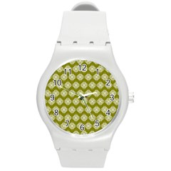 Abstract Knot Geometric Tile Pattern Round Plastic Sport Watch (m) by creativemom