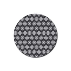 Abstract Knot Geometric Tile Pattern Rubber Round Coaster (4 pack)  by creativemom