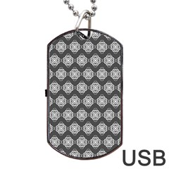 Abstract Knot Geometric Tile Pattern Dog Tag Usb Flash (one Side) by creativemom