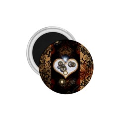 Steampunk, Awesome Heart With Clocks And Gears 1 75  Magnets by FantasyWorld7