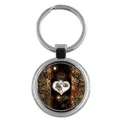 Steampunk, Awesome Heart With Clocks And Gears Key Chains (round)  by FantasyWorld7