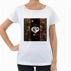 Steampunk, Awesome Heart With Clocks And Gears Women s Loose Fit T Shirt (white) by FantasyWorld7
