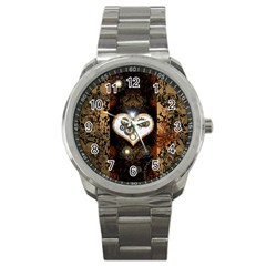 Steampunk, Awesome Heart With Clocks And Gears Sport Metal Watches by FantasyWorld7