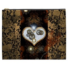 Steampunk, Awesome Heart With Clocks And Gears Cosmetic Bag (xxxl)  by FantasyWorld7