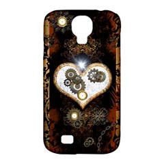 Steampunk, Awesome Heart With Clocks And Gears Samsung Galaxy S4 Classic Hardshell Case (pc+silicone) by FantasyWorld7