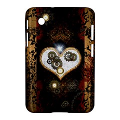 Steampunk, Awesome Heart With Clocks And Gears Samsung Galaxy Tab 2 (7 ) P3100 Hardshell Case  by FantasyWorld7