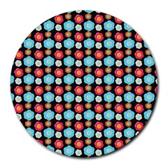 Colorful Floral Pattern Round Mousepads by creativemom