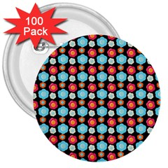 Colorful Floral Pattern 3  Buttons (100 Pack)  by creativemom