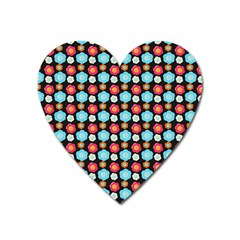 Colorful Floral Pattern Heart Magnet by creativemom