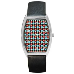 Colorful Floral Pattern Barrel Metal Watches by creativemom