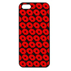 Charcoal And Red Peony Flower Pattern Apple Iphone 5 Seamless Case (black) by creativemom