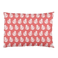 Coral And White Lady Bug Pattern Pillow Cases by creativemom