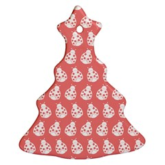 Coral And White Lady Bug Pattern Ornament (christmas Tree) by creativemom