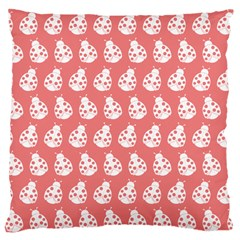 Coral And White Lady Bug Pattern Large Cushion Cases (two Sides)  by creativemom